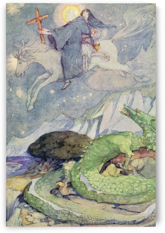 The Marsh King's Daughter, illustration from The Golden Wonder Book published 1934.  The dragon that guards buried treasure lifted up his head and gazed after the riders. by PacificStock
