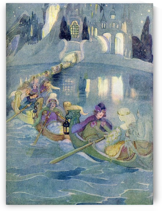 The Shoes Which Were Danced to Pieces.  Illustration from The Golden Wonder Book for Children published 1934. On the lake he saw that there were twelve little boats and in each boat were seated a handsome prince and one of the beautiful sisters. by PacificStock