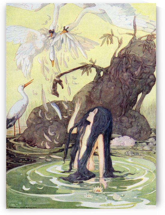 Illustration from The Marsh King's Daughter.  From The Golden Wonder Book for Children published 1934. There sat the Marsh King daughter with no covering but her long black hair. by PacificStock