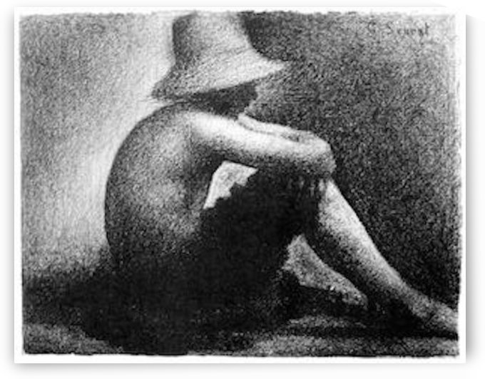 Sitting boy in straw hat by Seurat by Seurat