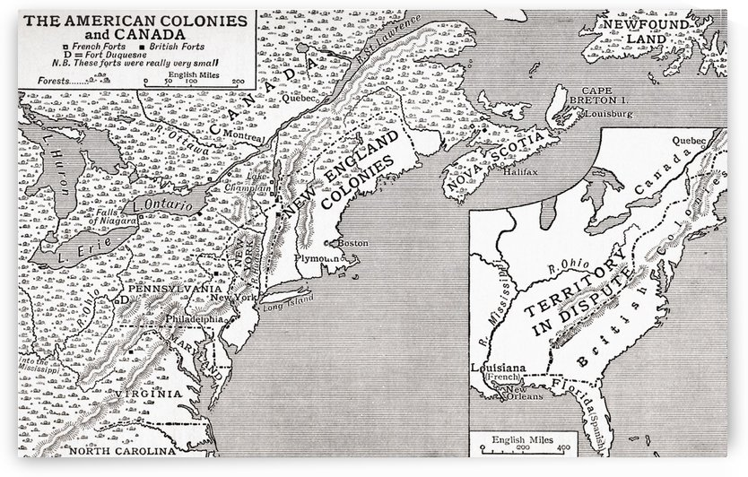 Map of The American Colonies and Canada, showing the British Forts in 1755.  From The Story of England, published 1930. by PacificStock