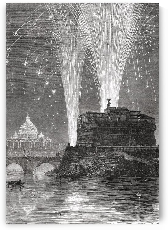 Illumination of St. Peters and firework display on the Castel Sant'Angelo, Rome, Italy in the late 19th century.  From Italian Pictures by Rev. Samuel Manning, published c.1890. by PacificStock
