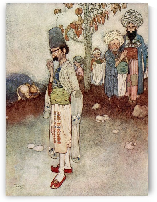 He assumed a disguise suitable to his purpose. Illustration by Edmund Dulac for Ali Baba and the Forty Thieves.  From The Arabian Nights, published 1938. by PacificStock