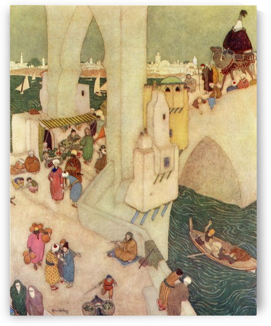 In the city of Baghdad.  Illustration by Edmund Dulac for Sindbad The Sailor.  From The Arabian Nights, published 1938. by PacificStock