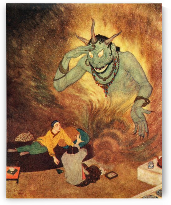 Aladdin and the Efrite.  Illustration by Edmund Dulac for Aladdin and The Wonderful Lamp. From The Arabian Nights, published 1938. by PacificStock