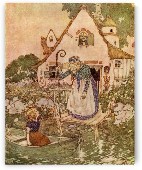 Then an old, old woman came out of the house; she was leaning on a big, hooked stick, and she wore a big sunhat, which was covered with beautiful painted flowers. Illustration by Edmund Dulac for The Snow Queen.  From Stories from Hans Andersen, published by PacificStock