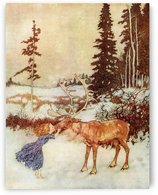 The reindeer did not dare to stop. It ran on till it came to the bush with the red berries. There it put Gerda down, and kissed her on the mouth, while big shining tears trickled down its face.  Illustration by Edmund Dulac for The Snow Queen.  From Stori by PacificStock