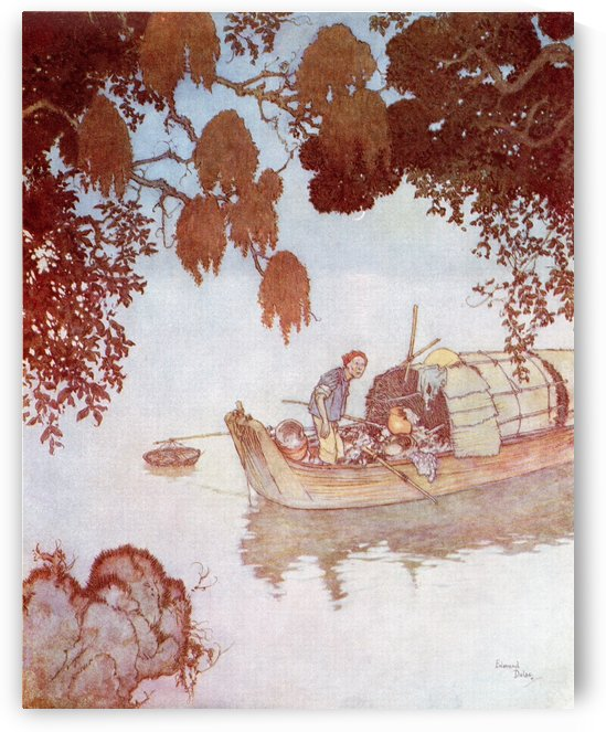 Among these trees lived a nightingale, which sang so deliciously that even the poor fisherman, who had planty of other things to do, lay still to listen to it, when he was out at night drawing in his nets.  Illustration by Edmund Dulac for The Nightingale by PacificStock