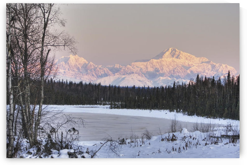 Winter Scenic Of The Southside Of Mt. Mckinley As Seen From South Of The Denali National Park, Lit With Alpenglow At Sunset, Alaska, Hdr Image by PacificStock
