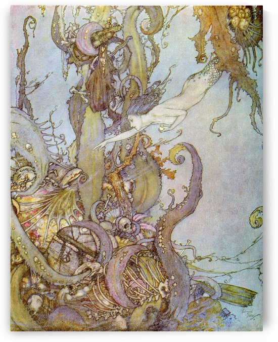 But the little mermaid had no need to do this, for as the mere sight of the bright liquid, which sparkled in her hand like a shining star, they drew back in terror.  Illustration by Edmund Dulac for The Mermaid.  From Stories from Hans Andersen, published by PacificStock