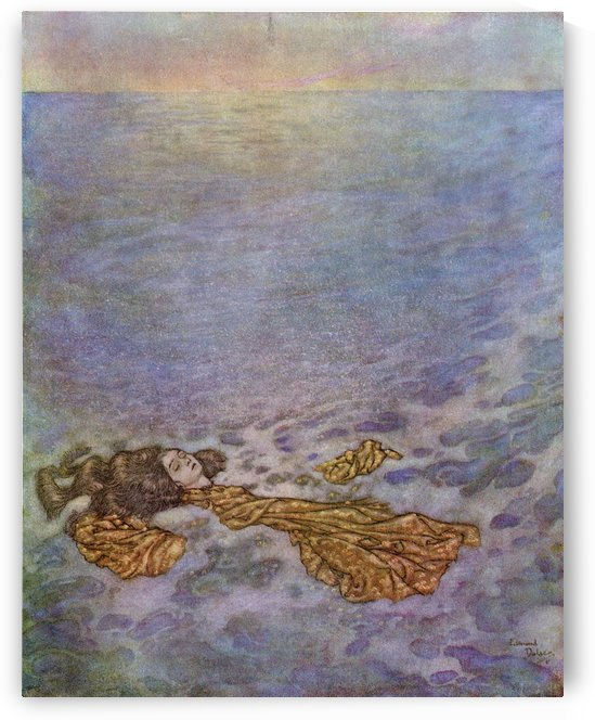 Once more she looked at the prince, with her eyes already dimmed by death, then dashed overboard and fell, her body dissolving into foam.  Illustration by Edmund Dulac for The Mermaid.  From Stories from Hans Andersen, published 1938. by PacificStock