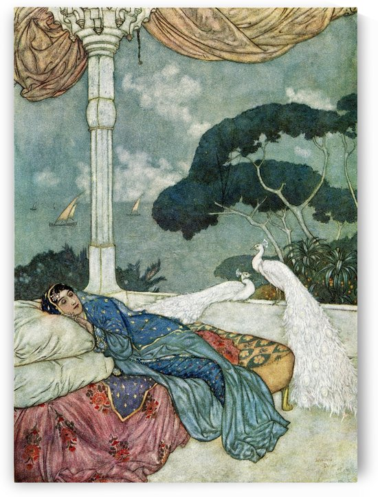 Heav'n but the Vision of fulfill'd Desire, And Hell the Shadow of a Soul on fire, Cast on the Darkness into which Ourselves, So late emerg'd from, shall so soon expire.  Illustration by Edmund Dulac from the Rubaiyat of Omar Khayyam, published 1909. by PacificStock
