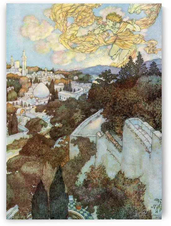 Wake! for the sun behind yon Eastern height has chased the session of the stars from night.  Illustration by Edmund Dulac from the Rubaiyat of Omar Khayyam, published 1909. by PacificStock