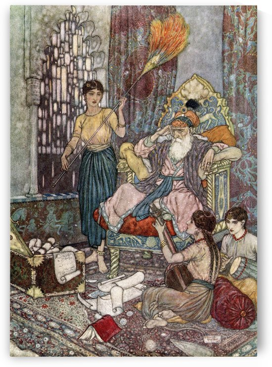 With me along the strip of Herbage strown That just divides the desert from the sown,Where name of Slave and Sultán is forgot -And Peace to Máhmúd on his golden Throne.  Illustration by Edmund Dulac  from the Rubaiyat of Omar Khayyam, published 1909. by PacificStock