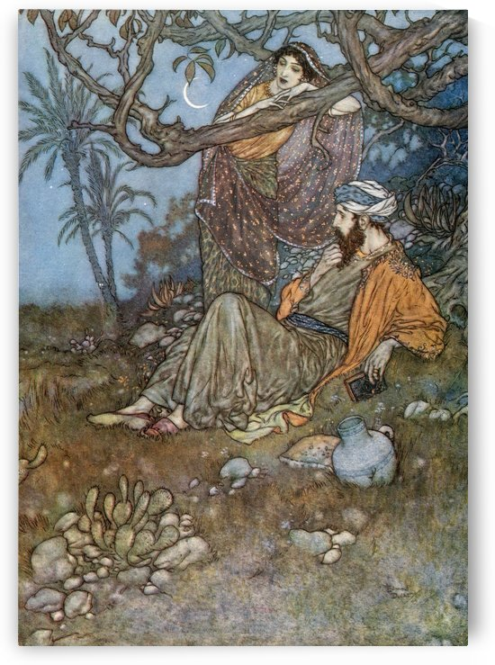 Here with a little Bread beneath the Bough, A Flask of Wine, a Book of Verse - and Thou Beside me singing in the Wilderness Oh, Wilderness were Paradise enow!  Illustration by Edmund Dulac f rom the Rubaiyat of Omar Khayyam, published 1909. by PacificStock