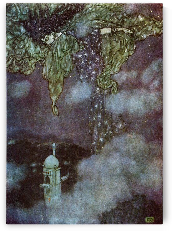 Earth could not answer: nor the Seas that mourn In flowing Purple, of their Lord forlorn; Nor Heaven, with those eternal Signs reveal' And hidden by the sleeve of Night and Morn.  Illustration by Edmund Dulac from the Rubaiyat of Omar Khayyam, published 1 by PacificStock