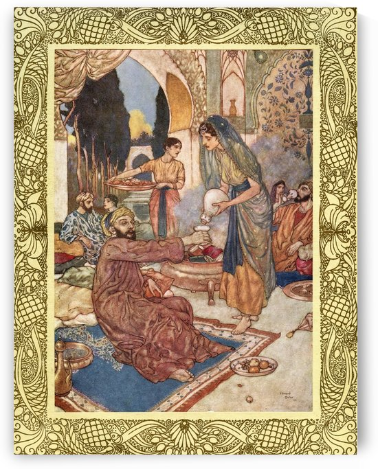 You know, my Friends, how bravely in my House For a new Marriage I did make Carouse: Divorced old barren Reason from my Bed, And took the Daughter of the Vine to Spouse.  Illustration by Edmund Dulac from the Rubaiyat of Omar Khayyam, published 1909. by PacificStock