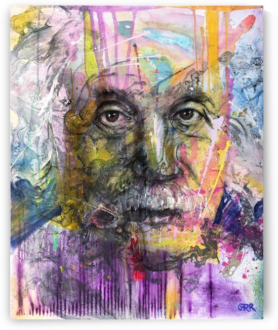 Illustration of a man's face with colourful abstract patterns surrounding it by PacificStock