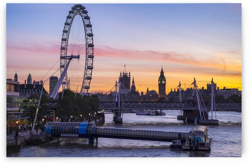Millennium Wheel and skyline at sunset; London, England by PacificStock