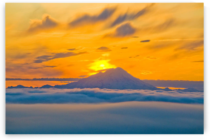 Colorful Sunset Behind Mt. Redoubt And A Low Cloud Layer As Seen From Kenai Peninsula, Southcentral Alaska, Summer by PacificStock