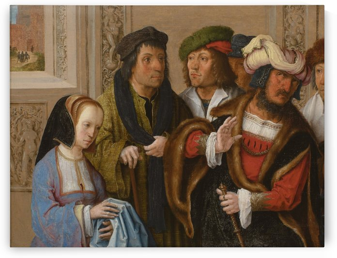 Potiphar's wife displays Joseph's garment by Lucas van Leyden