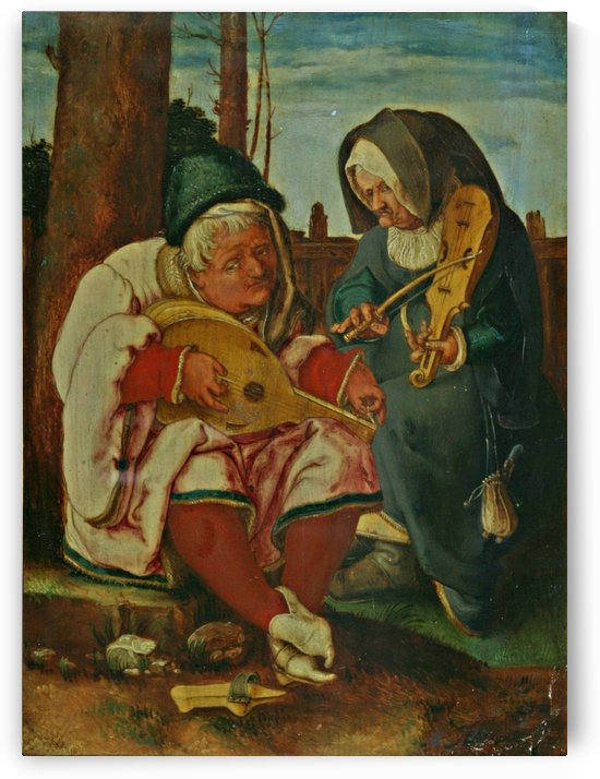 Old man and woman musicians by Lucas van Leyden