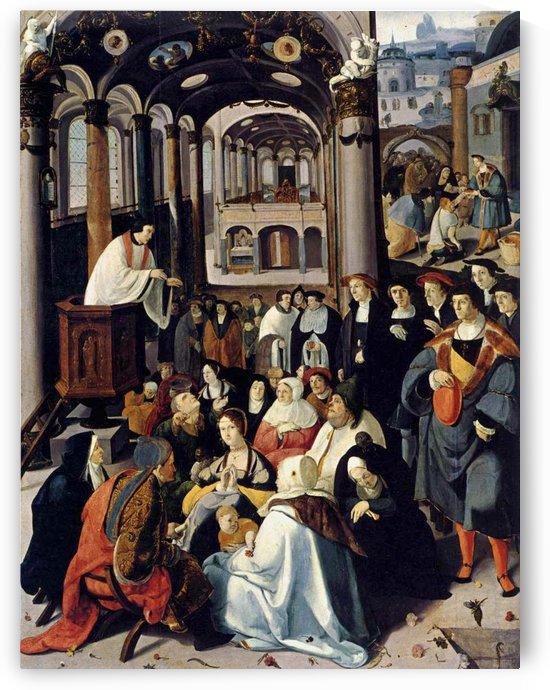 Preaching in the Church by Lucas van Leyden
