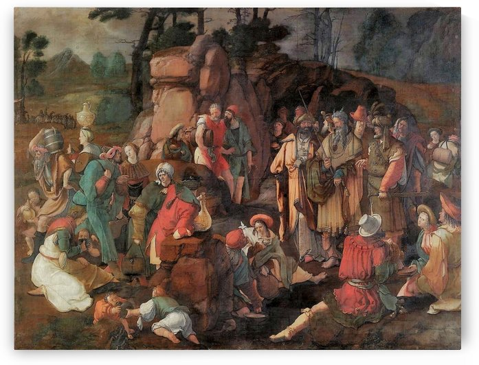Moses and the Isrealites after the Miracle of Water by Lucas van Leyden