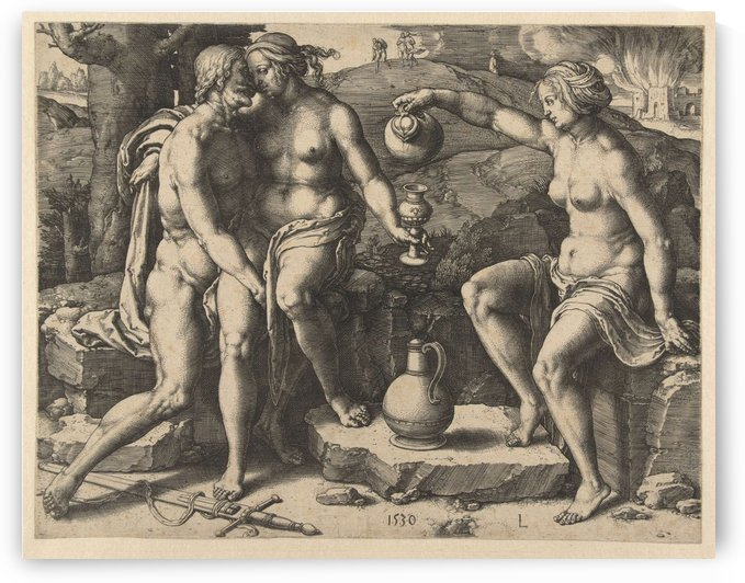 Lot and his two daughters by Lucas van Leyden