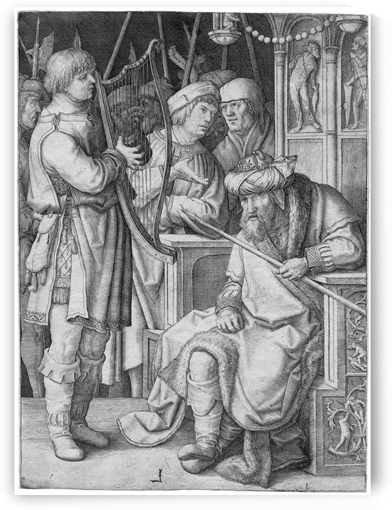 David playing the harp before Saul by Lucas van Leyden