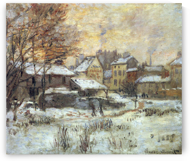 Snow at sunset, Argenteuil in the snow by Monet by Monet