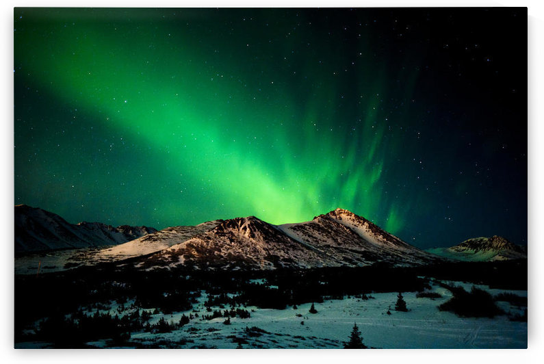 The Northern Lights Over Wolverine Peak In The Chugach State Park Near Powerline Pass, Anchorage, Southcentral Alaska, Winter by PacificStock