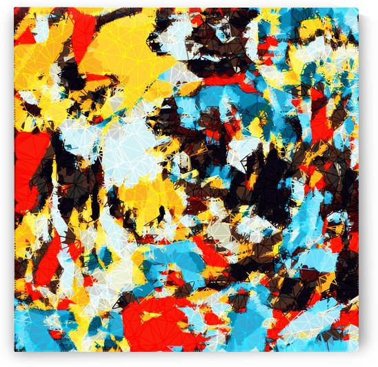psychedelic geometric splash painting abstract pattern in yellow red blue brown by TimmyLA
