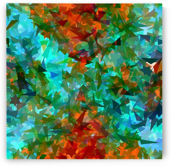 psychedelic geometric abstract pattern in green blue orange by TimmyLA