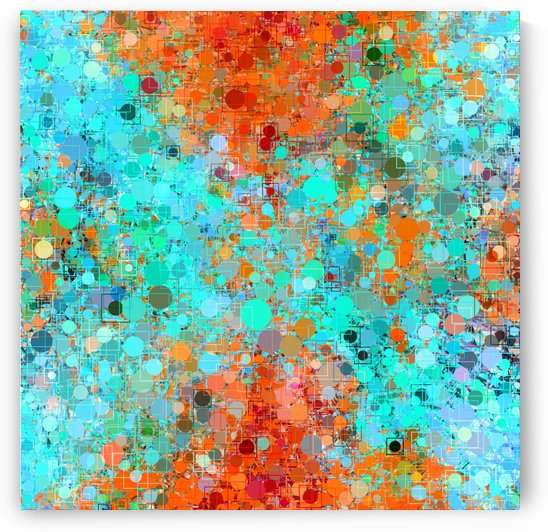 psychedelic geometric circle pattern and square pattern abstract in orange and blue by TimmyLA