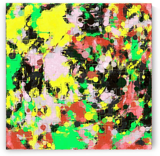 psychedelic geometric circle pattern and square pattern abstract in yellow red green black pink by TimmyLA