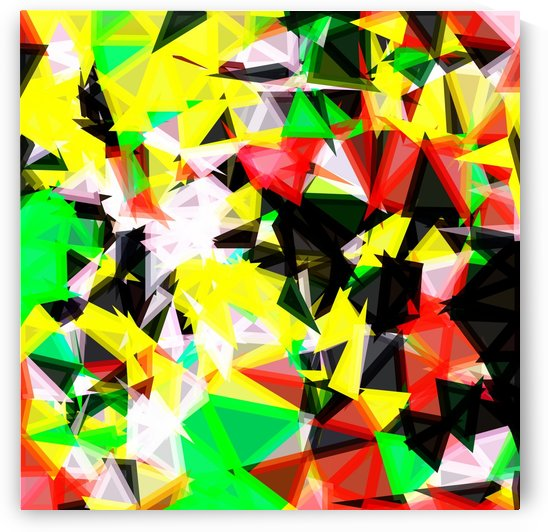 psychedelic geometric abstract pattern in green red yellow black by TimmyLA