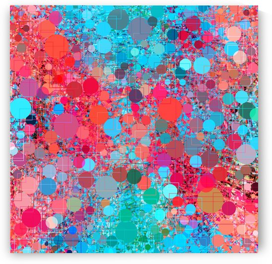 psychedelic geometric circle pattern and square pattern abstract in pink red blue by TimmyLA