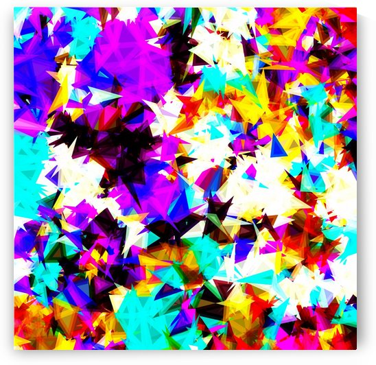 psychedelic geometric triangle abstract pattern in purple pink blue yellow red by TimmyLA