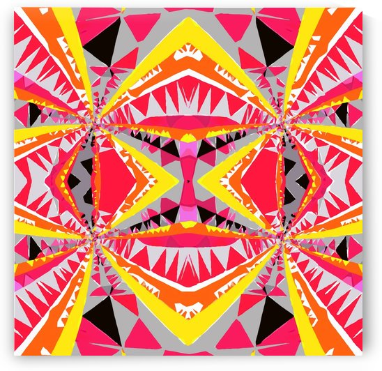 psychedelic geometric triangle polygon abstract pattern in red yellow pink black by TimmyLA