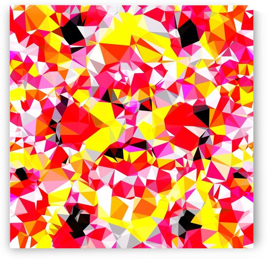 psychedelic geometric triangle polygon abstract pattern in red pink yellow by TimmyLA