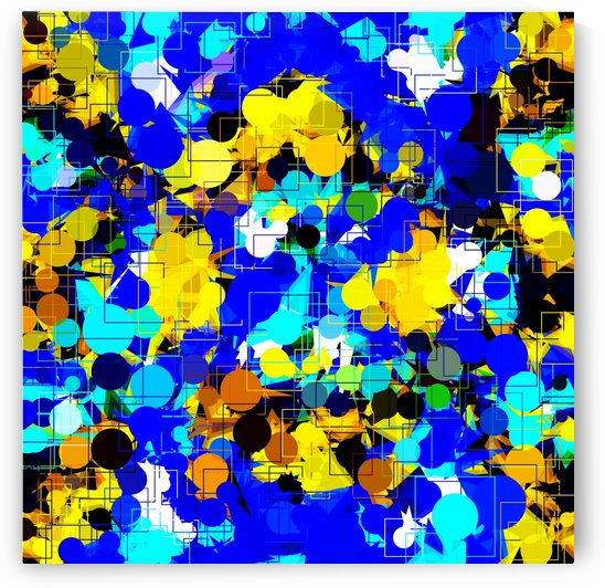 psychedelic geometric circle pattern and square pattern abstract in blue yellow brown by TimmyLA