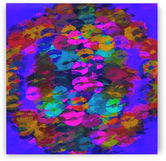 sexy kiss lipstick abstract pattern in pink blue orange red by TimmyLA