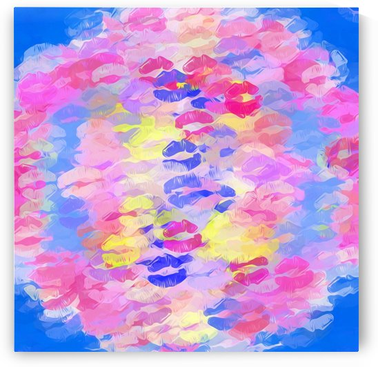 sexy kiss lipstick abstract pattern in pink blue yellow red by TimmyLA