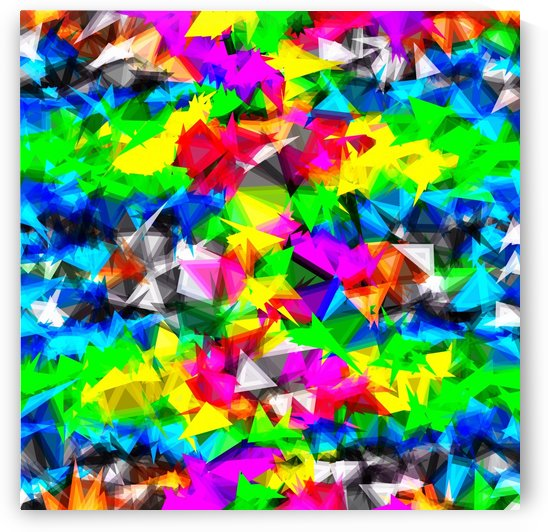 psychedelic geometric triangle abstract pattern in pink green yellow blue red by TimmyLA