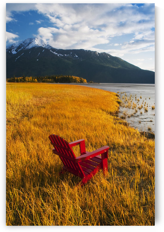 Red Adirondack Chair With Chugach Mountains In The Background Along Turnagain Arm In The Fall, Southcentral Alaska by PacificStock