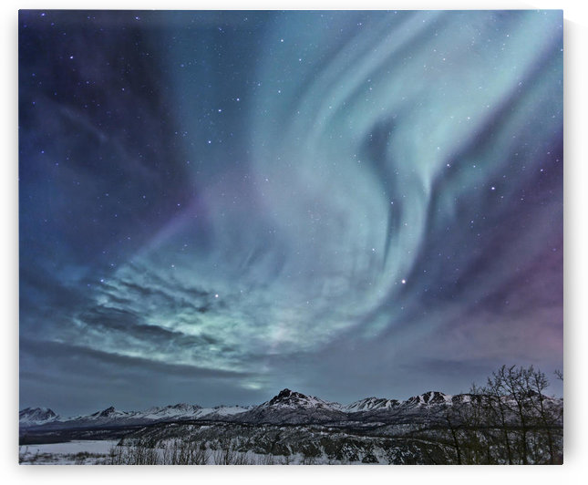 Composite Northern Lights (Aurora Borealis) Over The Talkeetna Mountains On A Sub-Zero Clear Evening, Southcentral Alaska, Winter by PacificStock