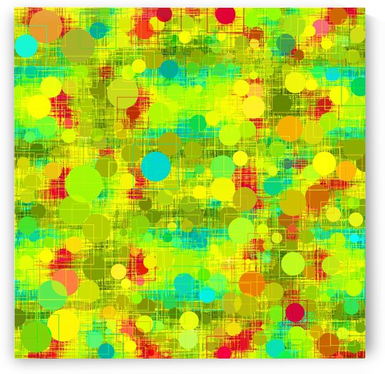 psychedelic geometric circle and square pattern abstract in yellow green blue red by TimmyLA