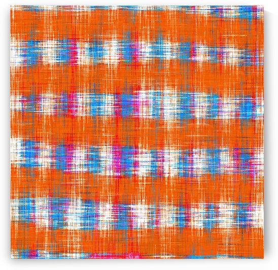 plaid pattern abstract texture in orange blue pink by TimmyLA