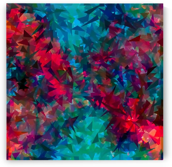 psychedelic geometric triangle abstract pattern in pink red blue by TimmyLA